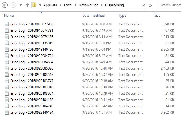 retrieve error log files for dispatch or dashboard resolver support